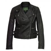 ladies leather black biker jacket lisa