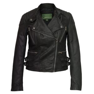 ladies leather black biker jacket lisa