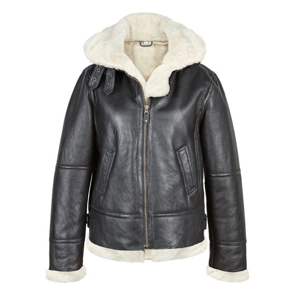 Womens Black Sheepskin Flying Jacket with White wool Holly
