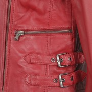 Womens Red Biker Leather Jacket zip detail