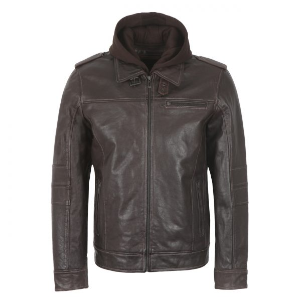 Gents Brown hooded Leather Jacket Mason