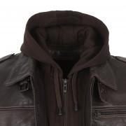 Gents Hood detail Mason Brown leather jacket