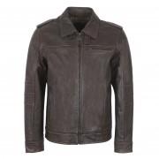Gents Leather Brown jacket Mason detachable hood