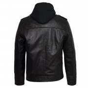 Gents Mason hooded black leather jacket back