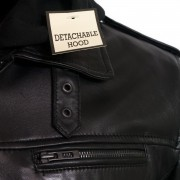 Gents mason black leather jacket zip detail