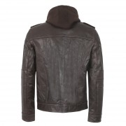 Mens Hooded Brown Leather Jacket Mason back detail