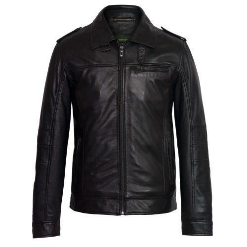 Mens black leather jacket mason
