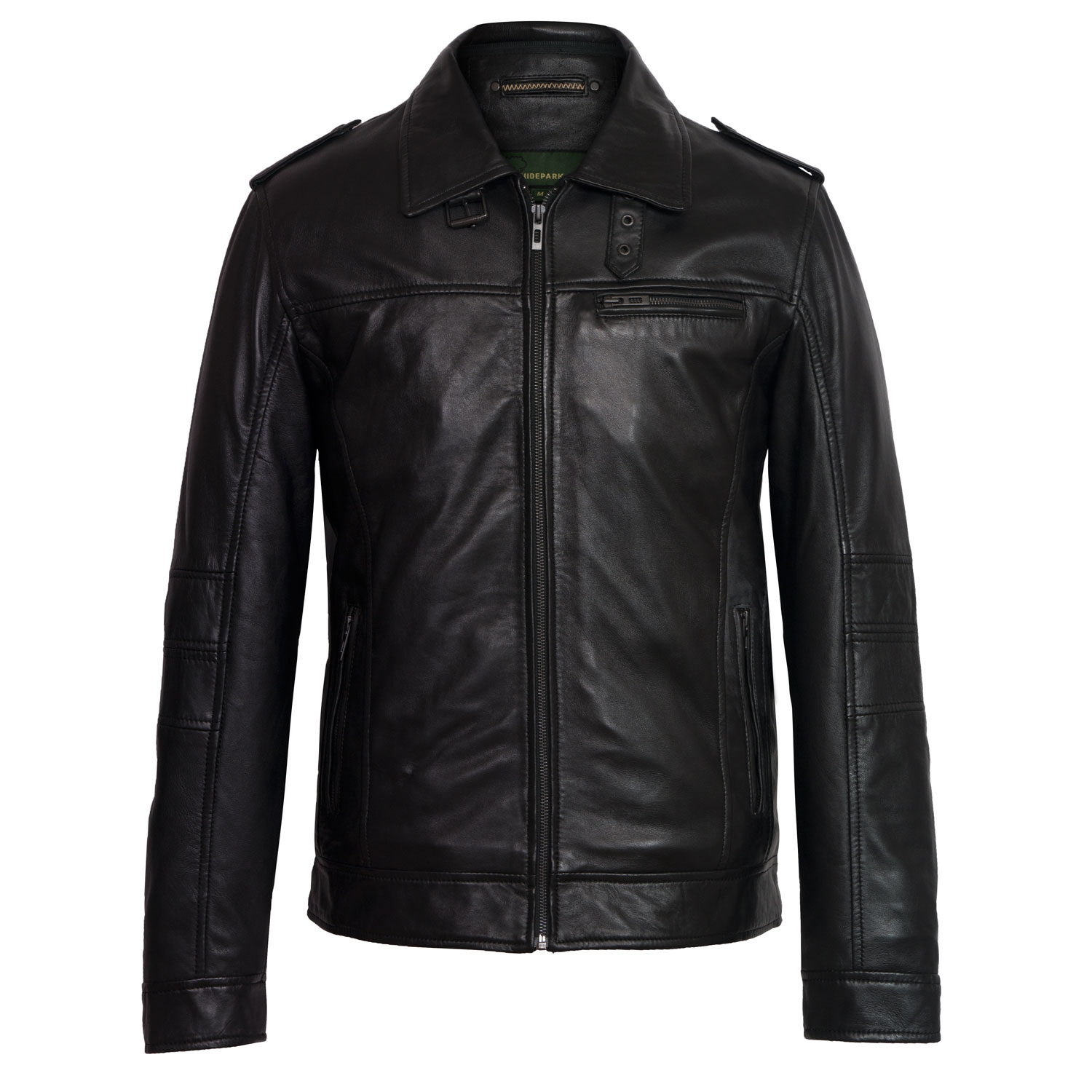 Mens black leather jacket mason