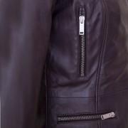 Ladies Burgundy leather jacket tess pocket detail