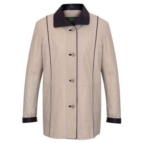 Ladies Cream Leather coat Tara Front