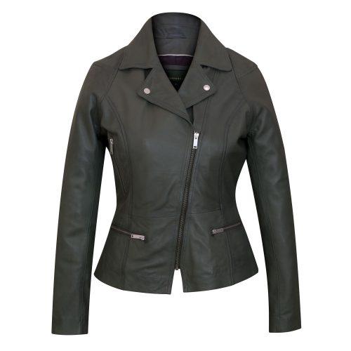 Ladies Leather Biker Jacket Tess Sage