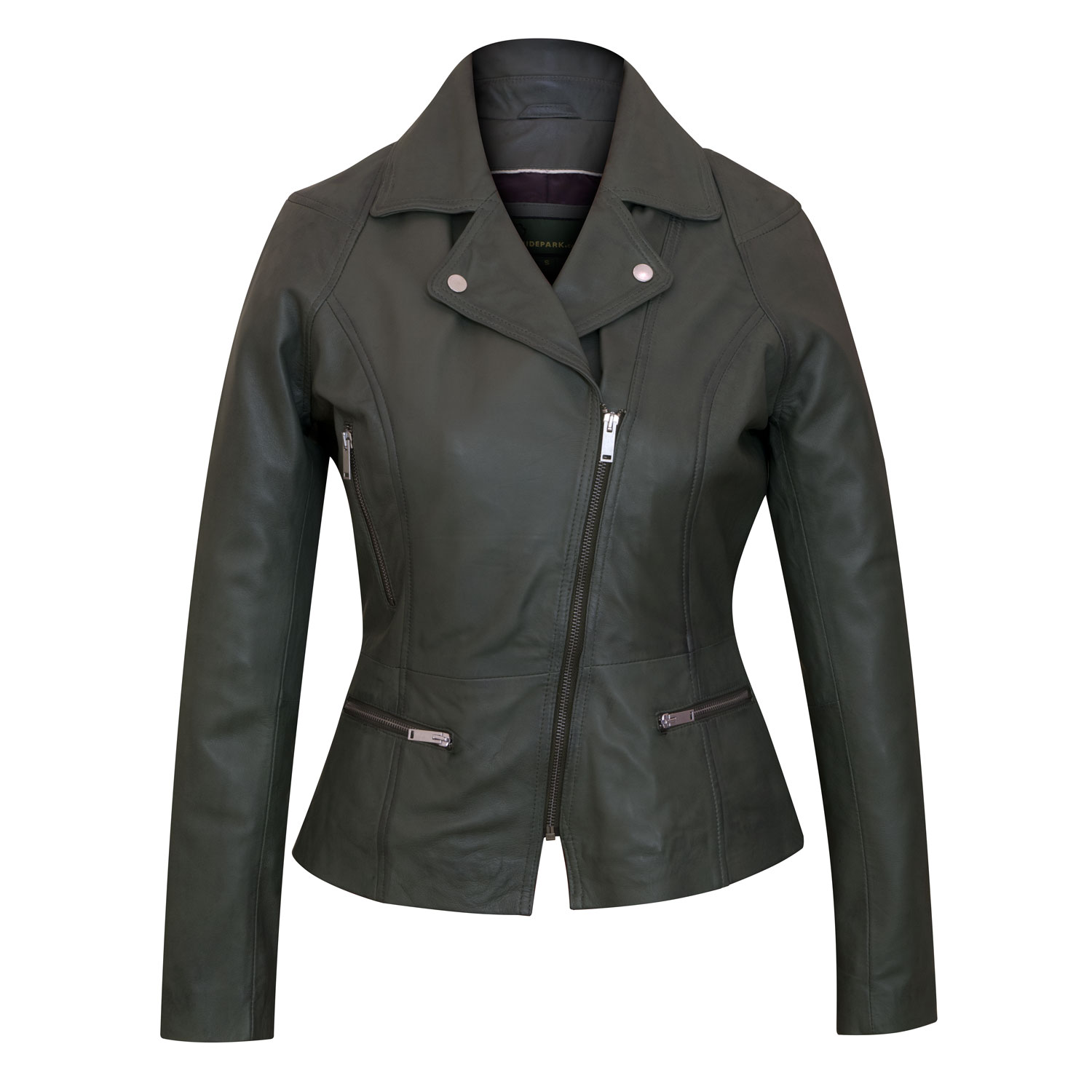 Ladies Leather Biker Jacket Tess Sage