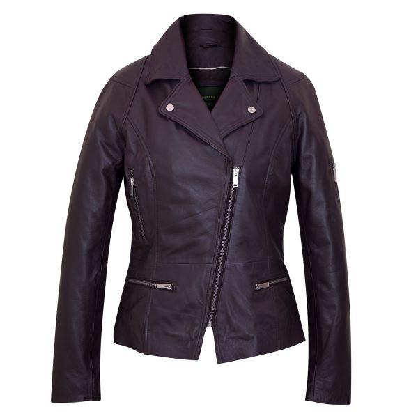 Ladies Leather Burgundy jacket front Tess