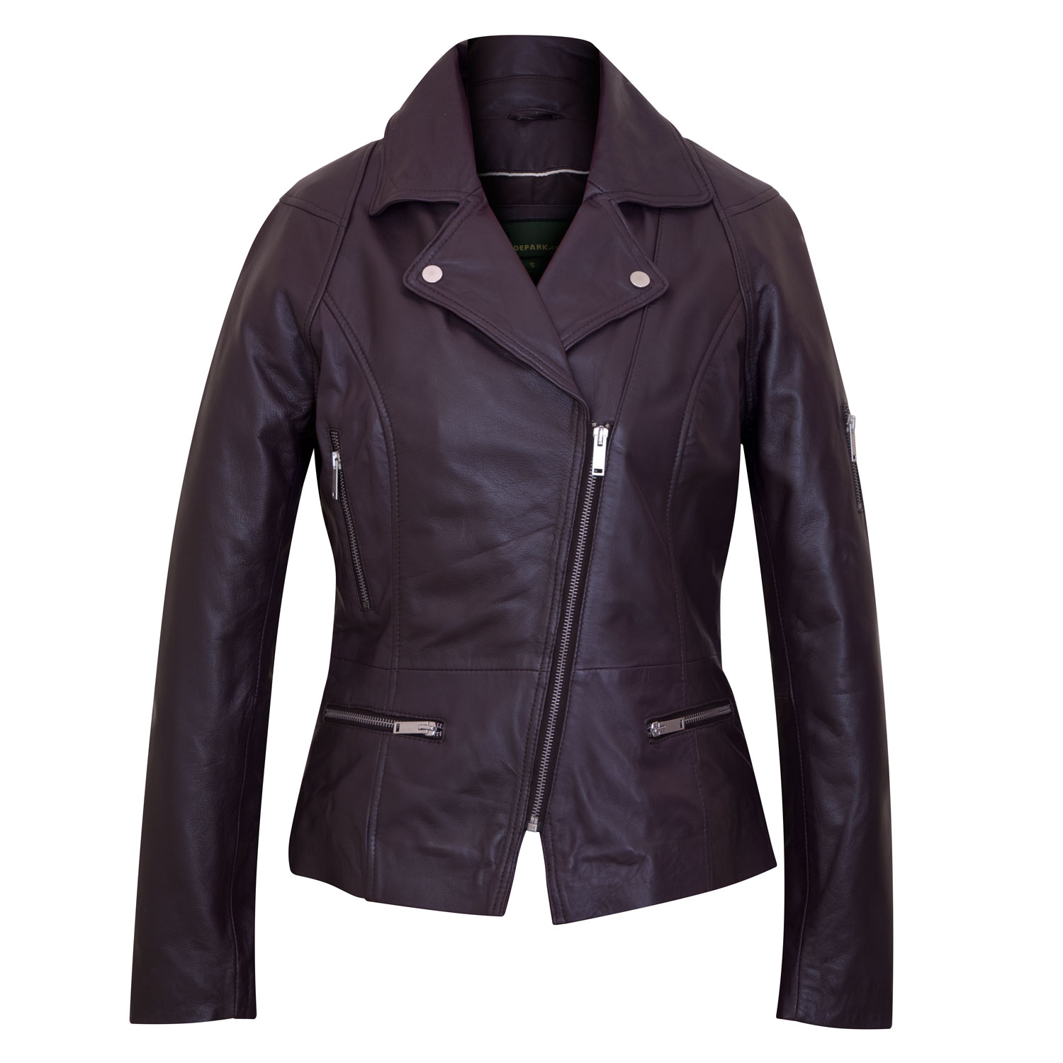 Ladies Leather Burgundy jacket front Tess