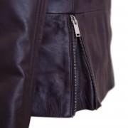 Womens side zip leather jacket detail Tess Burgundy