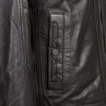 Danny Black leather coat pocket detail