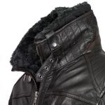 Gents Danny black leather coat collar detail