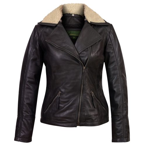 Ladies black leather flying jacket hana
