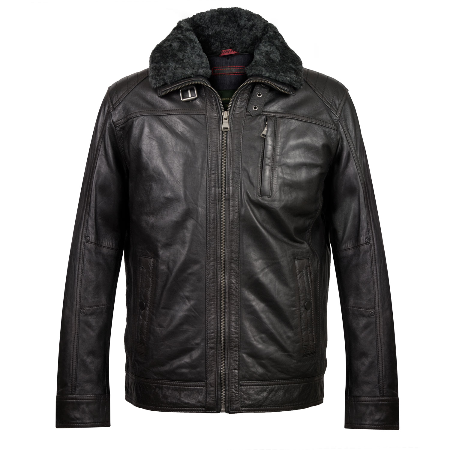 Mens Danny Black leather jacket front
