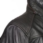 Mens black leather coat shoulder detail Danny
