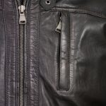 gents black leather jacket zip detail