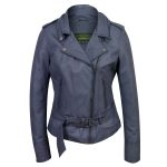 Blue Leather Biker jacket