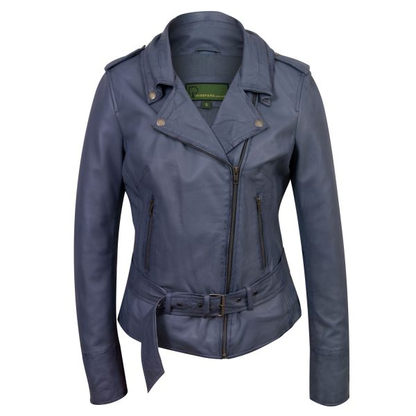 Ladies Blue Leather Biker jacket  Zoe