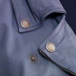Ladies Blue leather biker jacket Zoe collar detail