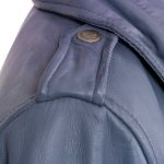 Ladies shoulder detail blue zoe leather biker jacket