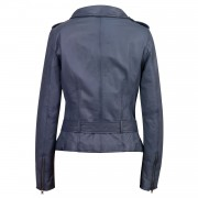 Womens Blue Leather biker jacket Back Zoe