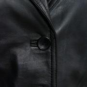 Jess leather black blazer button detail