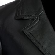 Jess leather black blazer collar detail