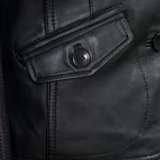 Ladies black leather blazer Jess pocket detail