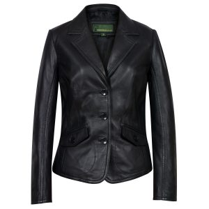 Womens Black leather blazer Jess