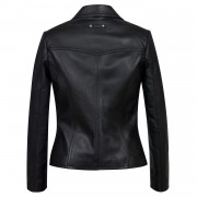 Womens Jess Black Leather Blazer back