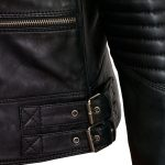 Elga black leather biker jacket side buckle detail