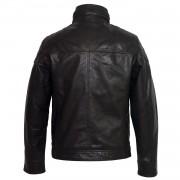 Gents Black Mac leather jacket back image