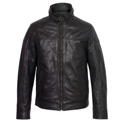 Gents Black Mac leather jacket fastened