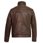 Gents Brown Leather jacket Mac Back