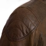 Gents Brown Leather jacket stitch detail Mac