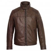 Gents Mac Brown leather jacket collar fastened