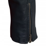 LAdies viki navy leather jacket zip cuff detail
