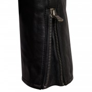 Ladies Black leather black biker jacket zip cuff detail