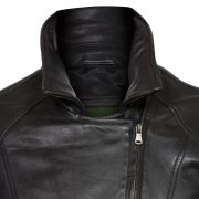 ladies black leather biker jacket viki collar detail