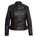 Ladies black leather coat Wendy fastened