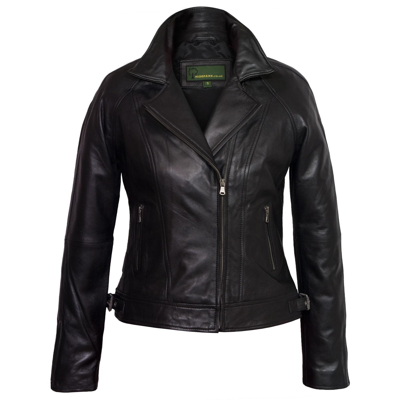 ladies black leather jacket viki