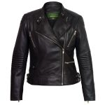 Ladies black leather jacket Wendy open