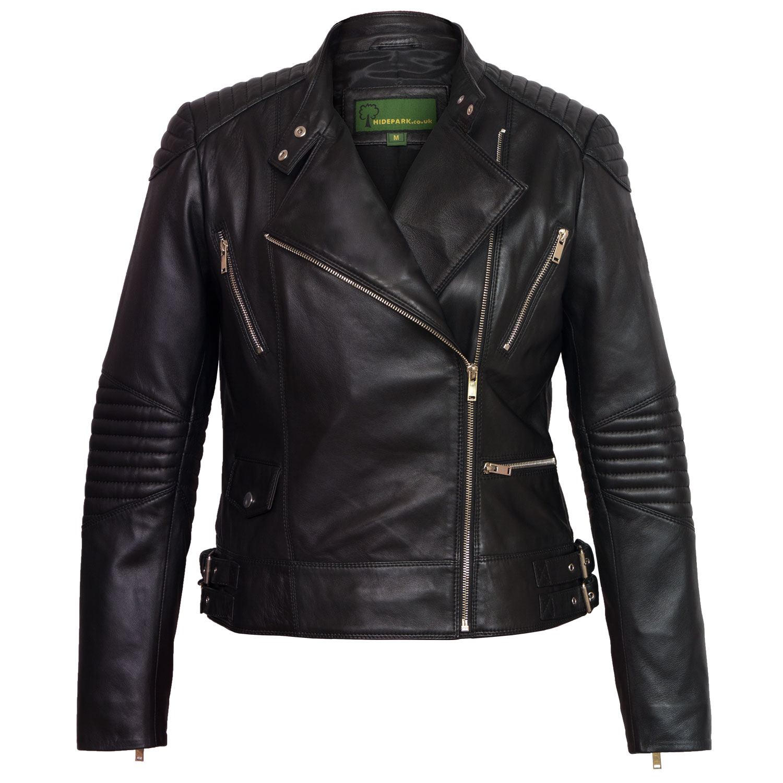 Ladies black leather jacket Wendy open