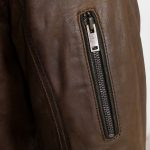 Mac Brown leather jacket sleeve zip detail