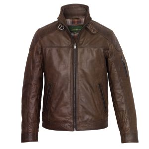 Men's Brown Leather Jacket: Mac